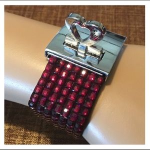 Jewelry - Purple Gem Silver Heart Buckle Bracelet